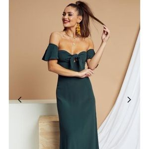 FLYNN SKYE EMERALD GREEN OFF THE SHOULDER MAXI
